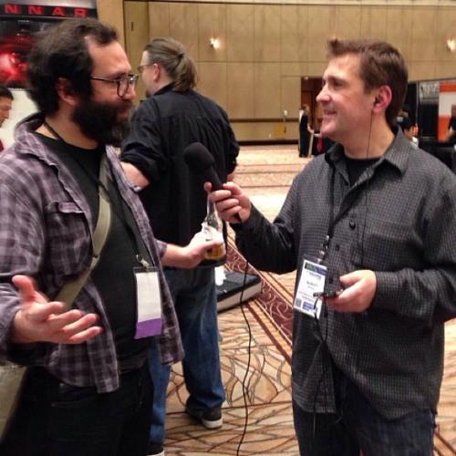 Dave Mansueto of BossJock iOS app.  at Las Vegas New Media Expo