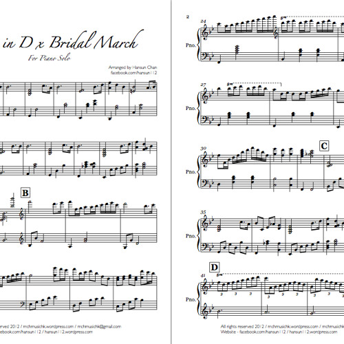 Canon in D x Bridal March for Piano Solo