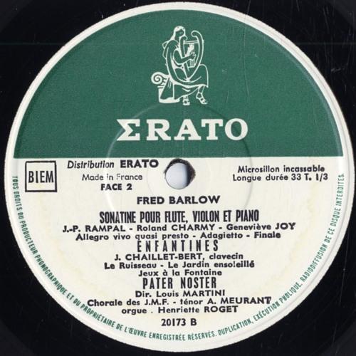 La minute de Madame Disco # 20 : Fred Barlow : Sonatine pour flûte violon et piano : III Finale