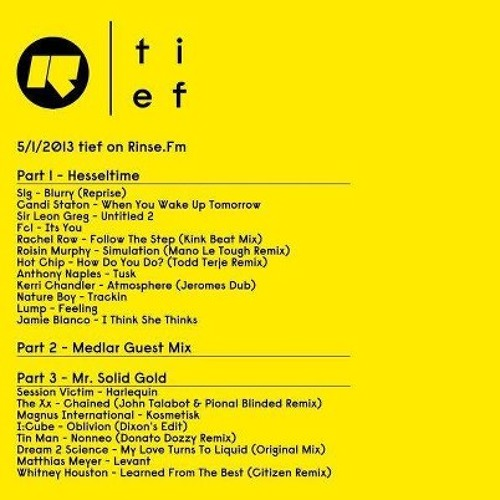 Medlar guest mix for 'Tief on Rinse' with Hesseltime & Mr Solid Gold - 5/1/13