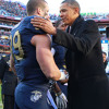 President Obama says if he had a son, he doesn't know if he would let him play football