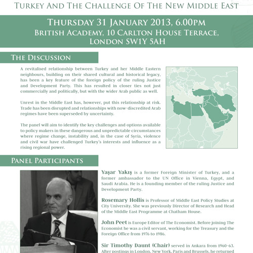 Turkey and the Challenge of the New Middle East: Panel - 31/01/2013 - British Institute at Ankara