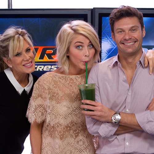 Julianne Hough Plays Truth Pong In Studio with Ryan Seacrest