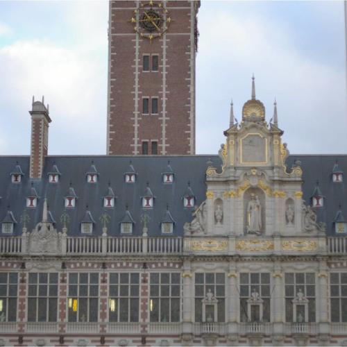 The carrilon at K.U.Leuven Central Library on the Ladeuzeplein in Leuven, playing James Bond