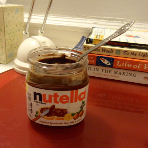 eating nutella with a spoon
