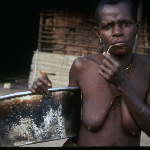 Engbeté, Sinakpa & others playing the bulubu pot bow (Central African Republic) [1997 21 2 78 A 10]