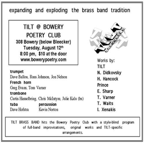 TILT Brass - Bowery Poetry Club, August '03 [Non-Site SCR 02]