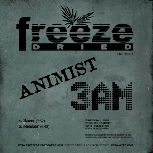 Animist - 3 am (Freeze Dried Recordings) PROMO AVAILABLE NOW