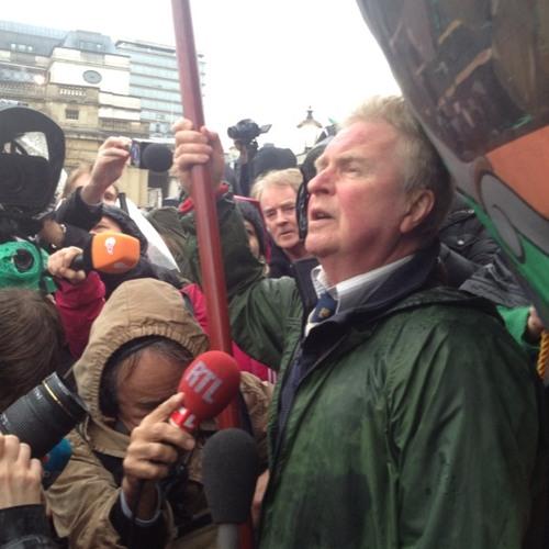 Miner David Douglas gives speech  at Trafalgar Square