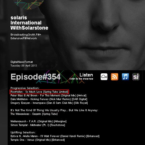 Solarstone plays Rootfellen - So Much Love on Solaris International Episode 354