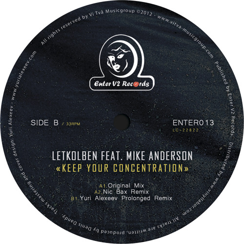 LetKolben feat. Mike Anderson - Keep Your Concentration / Enter V2 Rec. Vinyl