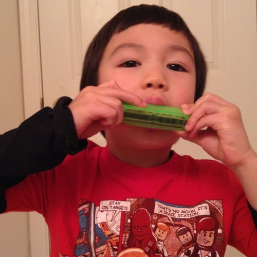 Little guy playing Harmonica