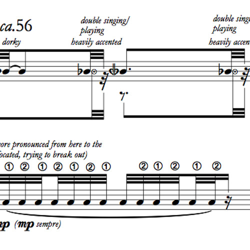 """""""Albumblatttt"""" for Flute, Clarinet, Piano, Electric Guitar and Double Bass (2013)"""