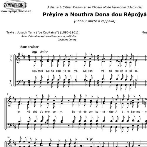 Prèyire a Nouthra Dona dou Rèpojyà (Gonzague Monney, CH, *1981)