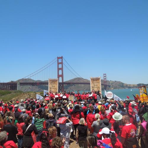 Activists March Across Golden Gate Bridge to Protest Keystone Pipeline