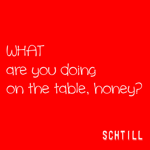 SCHTILL | WHAT Are You Doing On The Table, Honey?