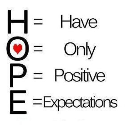 H.O.P.E. (Have Only positive expectations)!! - Daily Word July 3, 2013