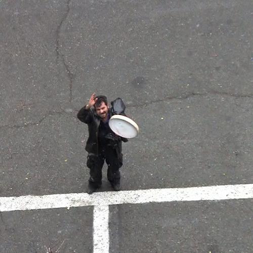318. (18.04.2013) - Our street artist,  singing in snow, rain or sun.