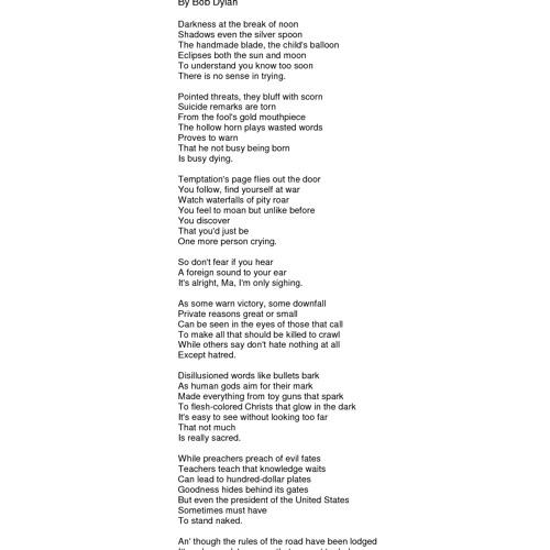 Kp Present Bob Dylan - Its Alright Ma (Im Only Bleeding) Vs 8B Mike Humphries & A Paul - Test Range