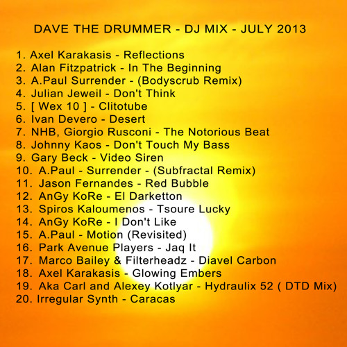 Dave The Drummer - July Heatwave - DJ Mix 2013