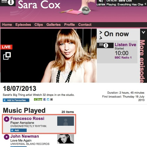 Francesco Rossi - Paper Aeroplane on BBC Radio 1 - Sara Cox