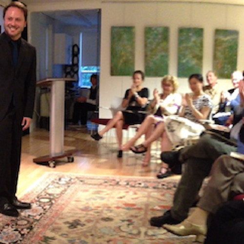 Short spoken introduction during recital for Udo Steingraeber in Toronto; Adam Sherkin