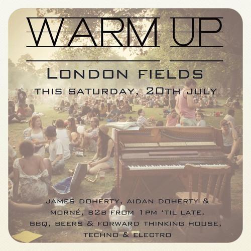 set 1 from Aidan Doherty @ warm up london fields 20.07.13 (deep house/electro/techno)