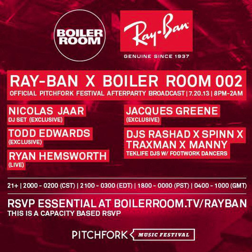 Jacques Greene DJ Set @ Ray-Ban x Boiler Room Pitchfork Festival Afterparty
