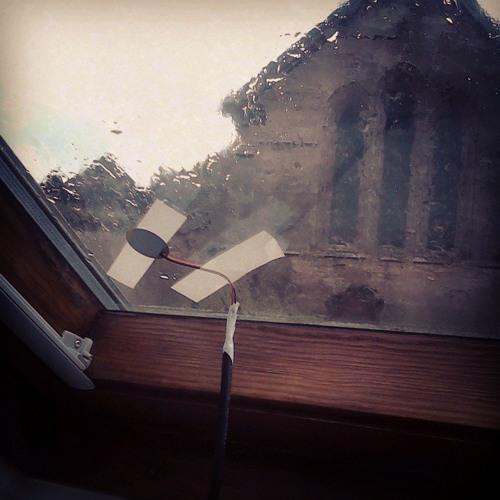 Contact mic on a rainy window