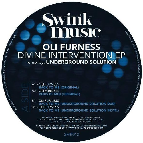 Oli Furness - Back to me (SWINK MUSIC) out on vinyl & Digital NOW