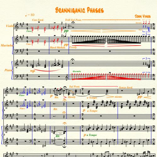 Branniganic Phases; Trio for Piano, Marimba, and Violin