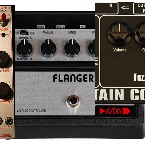 Flame Talking Synth (euro) vs. A/DA Flanger + Captain Coconut 2 Fuzz