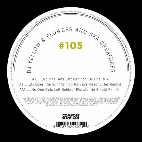 "DJ Yellow & Flowers and Sea Creatures ""No One Gets Left Behind"" Compost 96kp"