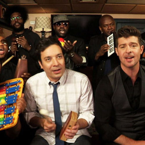 """Jimmy Fallon, Robin Thicke & The Roots play """"Blurred Lines"""" on classroom instruments"""