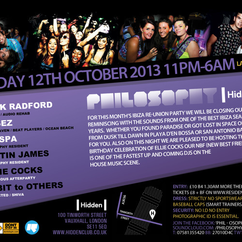 """PHILOSOPHY PROMO MIX BY HABIT TO OTHERS, Saturday 12th October 2013 """"Ibiza Reunion Edition"""""""