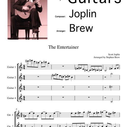 The Entertainer(midi) by Traditional/Brew - Children's Music Transcribed for Guitar Quartet