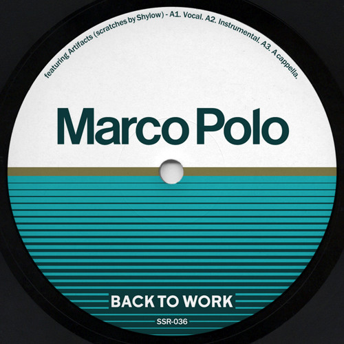"""Marco Polo f. Artifacts - BACK TO WORK 12"""" (Vocal, Inst., A Capella)"""