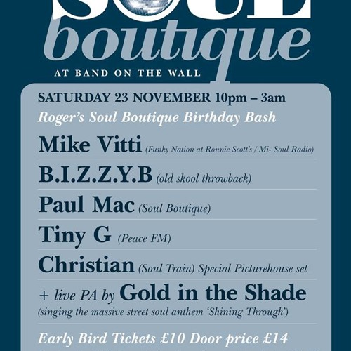 ChrisE Live @ Soul Boutique - Saturday 23rd November