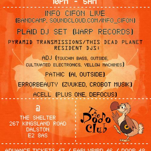 Info _ Cifon Live At The Dodo Club End of Summer Party https://soundcloud.com/info_cifon