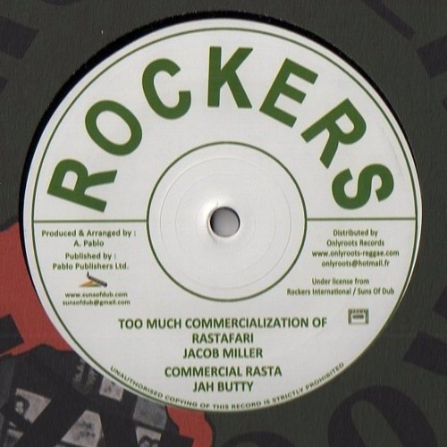 """JACOB MILLER - TOO MUCH COMMERCIALIZATION OF RASTAFARI + JAH BUTTY - COMMERCIAL RASTA - 12"""" - OR10"""