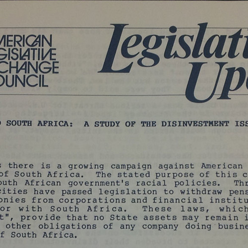 """ALEC's """"Institutional Corruption,"""" From Backing Apartheid to Assault on Clean Energy, Public Sector"""