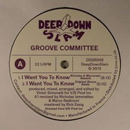 DDSR006 - Groove Committee - I Want You To Know (Nicholas & Marcoradi Rework) [Deep Down Slam]