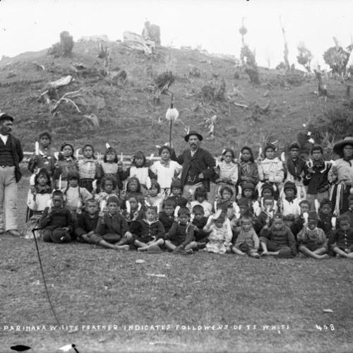 The Parihaka Children sing to the militia