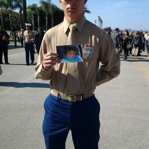 Chrissy Williams' son graduates as Marine with only a picture of his Mother to comfort him!