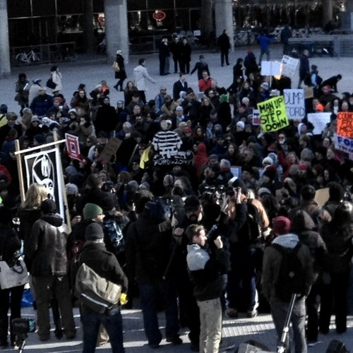 """Crowd of 1000 protestors chanting sound clip: """"Rob Ford has got to go!"""""""