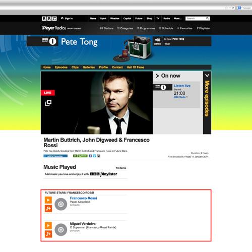 Francesco Rossi - Pete Tong's Future Stars BBC Radio 1 - Jan 17th, 2014