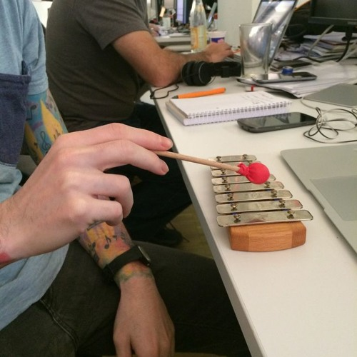 Filipe plays the xylophone at SoundCloud