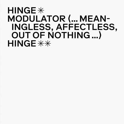 Hecker 'Modulator (… meaningless, affectless, out of nothing …) excerpt' (EMEGO 180)