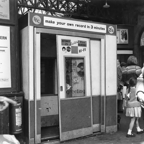 A Recording Booth, Waterloo Station, London, 1968 (please see description)