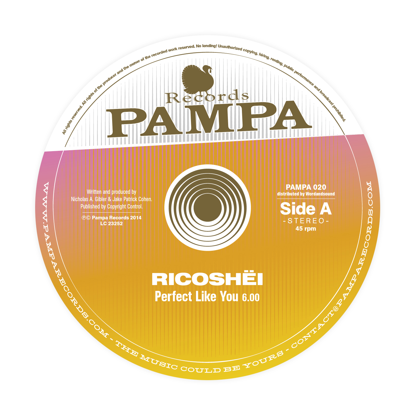 Ricoshëi / Dave DK � Perfect like you / Woolloomooloo - PAMPA020